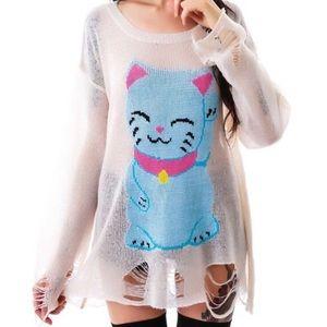 RARE Wildfox Lucky Cat Lennon Sweater 🐱